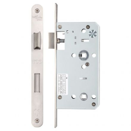 Vier ZDL7855RSS Din Standard Bathroom Lock 55mm Radius Forend Satin Stainless Steel
